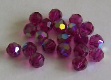 12 - Swarovski 8mm Crystal Fuchsia AB  Faceted Round Beads #5000