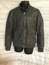 ZARA Basic Gray Leather Jacket Zip Up Men's Size L Large