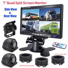 "7"" Quad Monitor Split Screen Side/Rear View 3 Camera IR CCD For Truck RV Caravan"