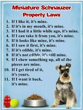 Miniature Schnauzer Property Laws Magnet Personalized With Your Dog's Name