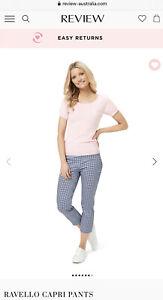 Review Ravello Capri Cotton Pants Navy/White Size 8 RRP$169.99
