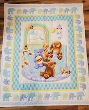 Teddy Bear Elephant Quilt Baby Child Blanket Unisex Handmade Euc