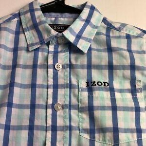 IZOD Boy's Long Sleeve Button Up Shirt Sz Small S 4 5 Blue Multicolor Plaid Logo