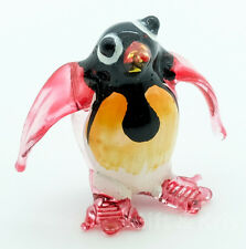 Figurine Animal Miniature Hand Blown Glass Red Penguin Bird - GPPE007