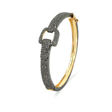 1.43 Ct Diamond Pave 925 Silver Bangle 14K Gold Bracelet Vintage Women's Jewelry