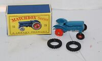 Vintage MATCHBOX Fordson Tractor 72 Red Hubs  Mint in Original BOX Type D Lesney