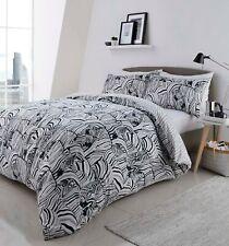 "Fusion ""Zebra"" Animal Reversible Easy Care Duvet Cover Bedding Set Charcoal"