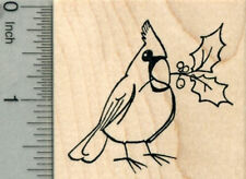 Cardinal Rubber Stamp, Bird with Holly H30226 WM