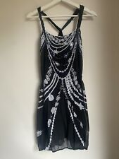 BLACK WHITE SEQUIN DRESS BNWT 12 LIPSY SUMMER HOLIDAY SEQUIN PARTY IBIZA GLAM