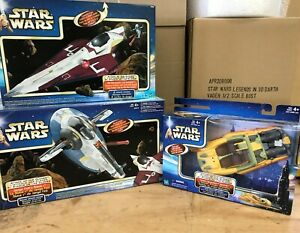 Star Wars Hasbro Attack of The Clones Starfighters New Slave 1 Obi-Wan's Fighter