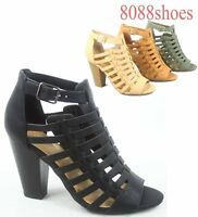 Women's Fashion Open Toe Chunky Heel Ankle Strap Bootie Sandal Shoes All Size