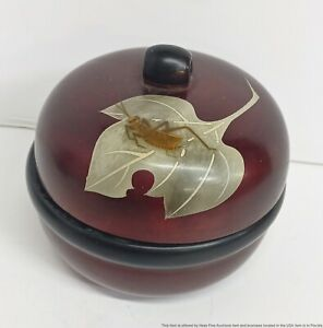 Antique Japanese Lacquered Wood Box w Lid Leaf Bug Cricket