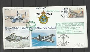 Bahamas FDC 1993 RAF, 15c only, Flown, signed by Air Vice Marshall A D Dick,