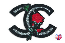 ROSE 🌹 FASHION CRYSTAL RHINESTONE Embroidered Applique Iron Sew On Patch Badge
