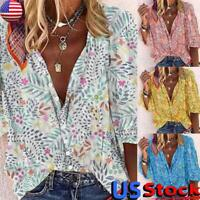 US Women's Floral Print Shirt Tops Ladies Casual Loose V Neck Long Sleeve Blouse