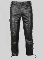 Men's Real Leather Bikers Pants Side & Front Laces Up Bikers Pants