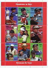 Chad 2002 MNH Golf Tiger Woods Vijay Singh Nick Faldo Els 9v M/S Sports Stamps