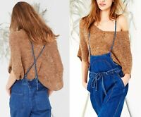 NWT ULLA JOHNSON Sidra Alpaca Wool Knit Off The Shoulder Cropped Sweater Saddle