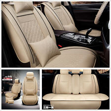5-Seats Full Set Deluxe Car Seat Cover Cushion Front &Rear w/ Pillows PU Leather