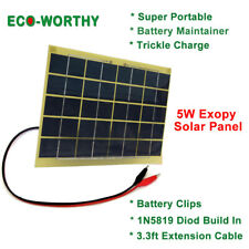 ECO 5W Watt Solar Panel Battery Clip for 12V Battery Trickle Charge Maintainer