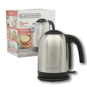 NEW Black And Decker 1.7L Stainless Steel Electric Cordless Kettle