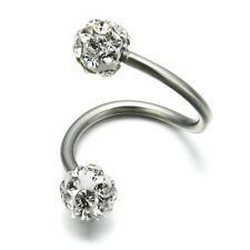 NEW Crystal Stainless Steel Twist Ear Helix Cartilage Earring Stud Body Piercing