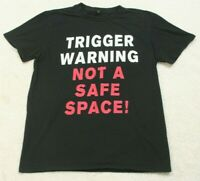 Anvil Trigger Warning Black Red Short Sleeve Crewneck Graphic Tee T-Shirt Medium