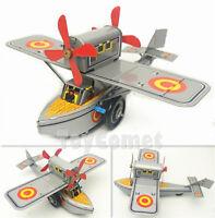 MS442 Propeller Plane Airplane Aircraft Retro Clockwork Wind Up Tin Toy w/Box