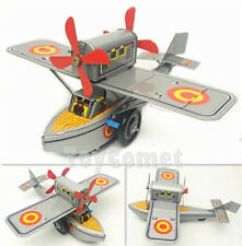 MS442 Propeller Plane Airplane Aircraft Retro Clockwork Wind Up Tin Toy w/Box