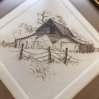 "Barbara Coppock Etching 6"" Richard's Barn on Cove Road House Print Art Num.10/50"