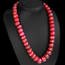 AMAZING QUALITY EVER 876.00 CTS NATURAL FACETED RED RUBY BEADS NECKLACE STRAND