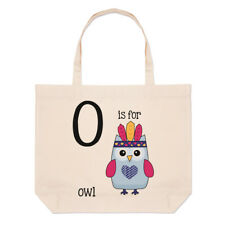lettere o è per gufo grande borsa con manico da Spiaggia - Alfabeto