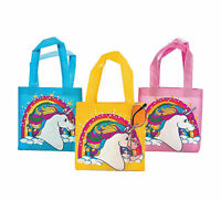 12 Mini Unicorn Totes Gift Bags Candy Treat Goody Rainbow Birthday Party Favors