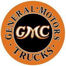 GMC Trucks General Motors Dealer Service Parts Advertising Round Metal Tin Sign