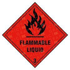 Flammable Liquid 3 Hazard Warning Labels Stickers COSHH PPE