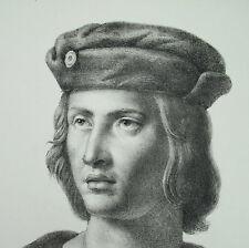 Antique print Saint Louis IX dit « le Prudhomme c1850 roi de France capétien