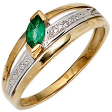 Ring Women's With Emerald Green & 2 Diamonds 585 Yellow Gold