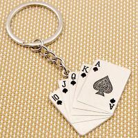 Kreative Silber Metall-Schlüsselanhänger Ring Poker Keychain Keyring Geschenk~~