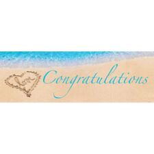 "Beach Love Congratulations Giant Banner 60"" x 20"" Party Decoration Sand & Sea"