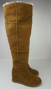 UGG Classic Femme Over The Knee Chestnut Suede Fur Wedge Tall Boots Size 9