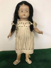 Rare Vintage 16� Composite Native American Doll Dressed In Leather Beaded Tunic