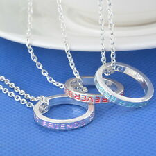 Best Friend Forever BFF  Friendship Necklace Engraved Silver Ring Pendant Chain