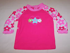 Flowers & Heart Girls Pink Printed Long Sleeve Rash Vest Size 0 New