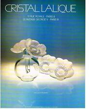 PUBLICITE  1979   CRISTAL  LALIQUE  vase DEUX ANAMONES