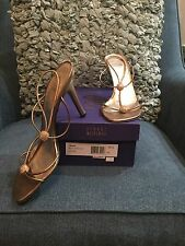 Stuart Weitzman Bridal & Evening Sandals Trixie Gold Supple Kid Women's 9 1/2 M