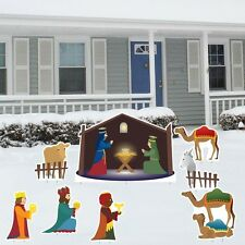 Outdoor Nativity Set Scene Christmas Decorations Yard Lawn 8pcs Made in USA NEW