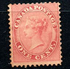 """1859 CANADA """"1 cent, ROSA, PINK""""  WITH GUM AND TWO CHARNELA"""