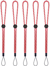 New listing Wrist Lanyard Adjustable Length Flashlight Cell Phone Keychain Red White 5 Pack