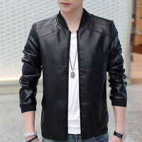 Men Vintage PU Faux Leather Slim Jacket Fit Biker Motorcycle Jacket Coat Outwear