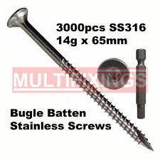 3000pcs - 14g x 65mm SS316 Stainless Steel Bugle Head Screws
